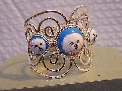 hand painted Bichon Frise painting on  turquoise  silver   bracelet