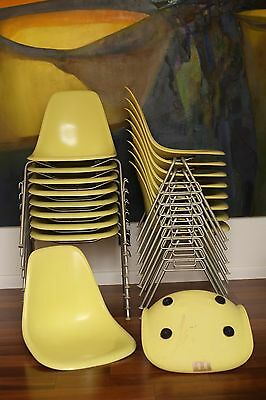 Herman Miller Charles Eames Fiberglass side Shell chair Yellow 18 Lot