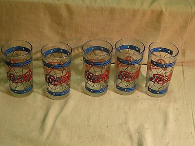 """5 Glass Pepsi Cola Glasses Approx. 5"""" Tall  LOT #2"""