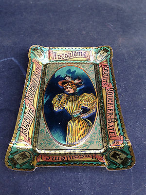 RARE Antique French Advertising Embossed Tin Ashtray Biscuits Rouchier Angoulême