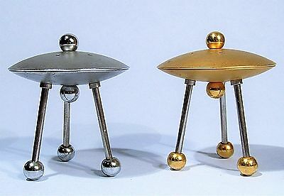 Ufo Flying Saucer Salt & Pepper Shakers Bruce Macdonald Zoomee Twins Metal Art