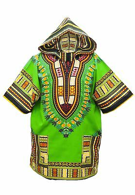 African Dashiki Hoodie - Light Green