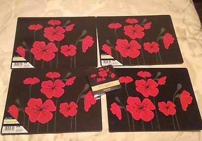 4 Table Mats, 4 Coasters Black With Red Poppies Plus  4 Red Cotton Serviettes