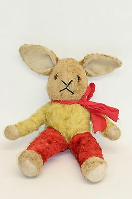 Vintage Red Gold & Blonde Plush Fur Rabbit 1950's ? Straw Filled Wired Arms