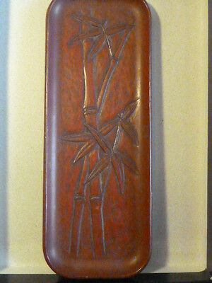 Antique Japanese, Carved- Cinnebar Lacquer Paint Brush Or Saki Tray - Signed !!