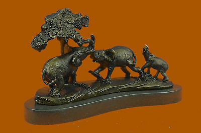 Art Deco Hot Cast Elephant Family With Tree Bronze Sculpture Marble Statue DB