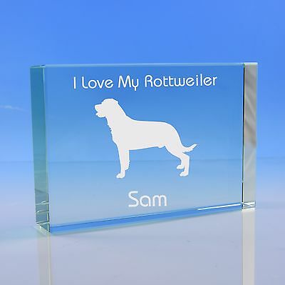 Rottweiler Dog Gift Personalised Engraved Glass Paperweight - Birthday