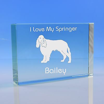 Springer Spaniel Dog Gift Personalised Engraved Glass Paperweight - Birthday