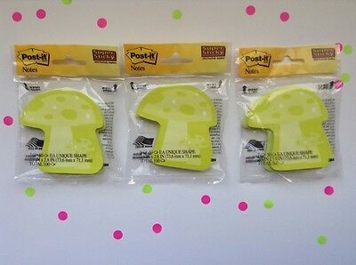 Lot of 3 Post-It Sticky Notes Die Cut Shape Use w Filofax Happy Planner Paper
