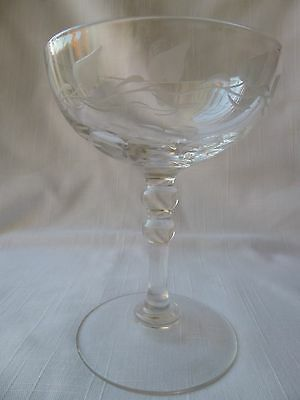Champagne Saucer / Coupe Etched Vine Leaves