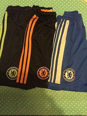 3 pairs of Chelsea football shorts aged 7-8 years