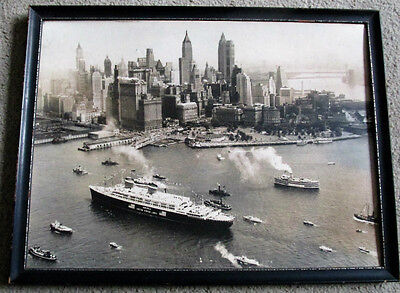 US Lines Steamship Ocean Liner SS America Framed Travel Agent Picture NY Harbor