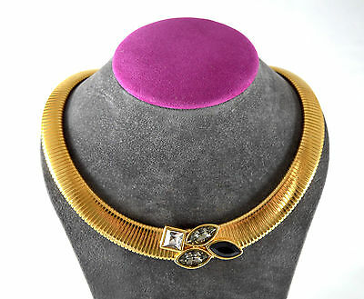 Vintage gold tone chunky flat rope snake chain choker necklace - 1980's