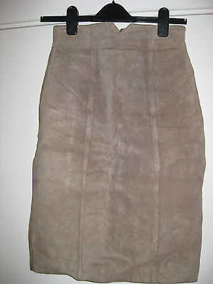 Vintage Suede Skirt Nude Beige 6 XS Pencil High Waist Lined
