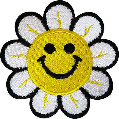 Yellow Smiley Happy Face Flower Patch Iron / Sew On Embroidered Clothes Badge