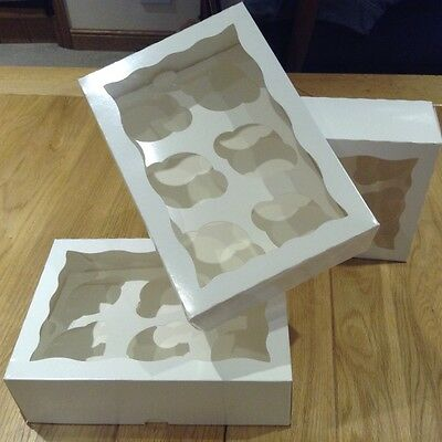 200  x White Cupcake Boxes with window holds 6 cupcakes