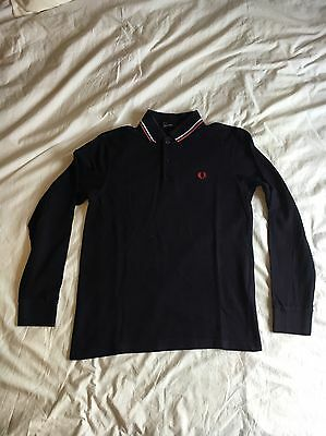 Fred Perry Men's Long Sleeved Polo Shirt Navy Small