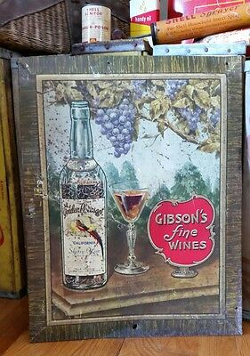 Antique Tin TOC Gibson's Wine Advertising Sign Non Porcelain CA NR Winery Decor