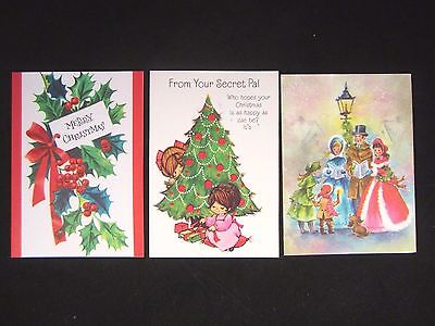 Vintage CHRISTMAS CARD Unused Lot Carolers SECRET PAL Holly MERRY CHRISTMAS