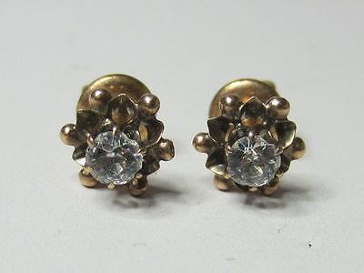 Victorian Antique 10K Rose Gold Paste Solitaire Stud Threaded Post Earrings