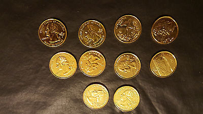 24 KT Gold Plated Quarters Mixed Sets 200 Pack Coins