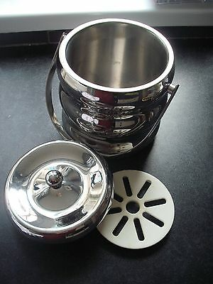 white metal ice bucket with lid, liner and tongs