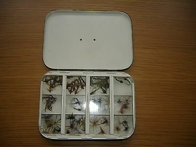 """Vintage HARDY BROS """"THE HALFORD"""" , Alnwick Black Dry Fly box and Flies"""