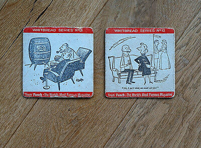 2 x Very old Beermat Coasters from  1960's. Whitbread (Punch Cartoon Series)