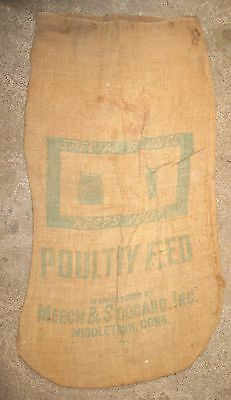 Vintage 100# Special Balance Poultry Feed Burlap Sack Bag Middletown Connecticut