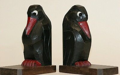 Rare Art Deco Bookends Hand Carved Birds Wooden Painted With Glass Eyes  VGC