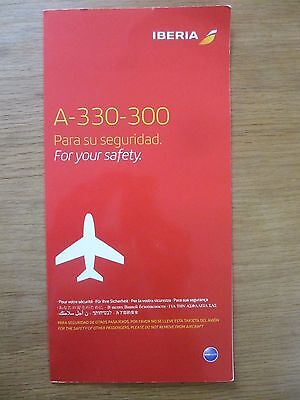 Iberia Airbus A330-300 airline safety card OBF137 (JUN/2016) VGC