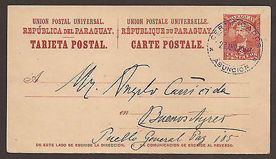 PARAGUAY. 1908. 4c UPU CARD. ASUNCION TO BUENES AIRES.
