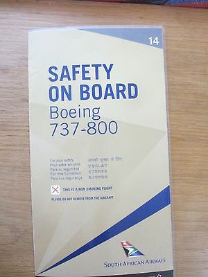 South African Airways Boeing 737-800 airline safety card gold style 14 Excellent