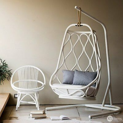 The White Company Nautica Rattan Hanging Chair With Stand White RRP £3500