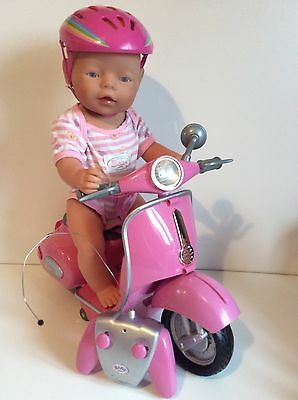 Baby Born Doll Comes With Remote Controlled Scooter / Bike with Helmet