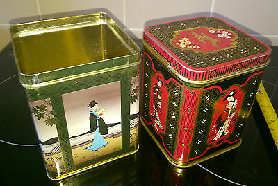 2 x CHINESE DESIGN TEA CADDY TINS - Nice Item For Collectors -