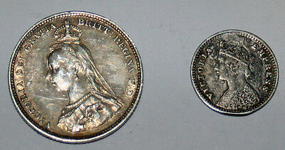 2 Silver Coins  1 Indian  1892 2 Annas and 1 Victorian Shilling 1888