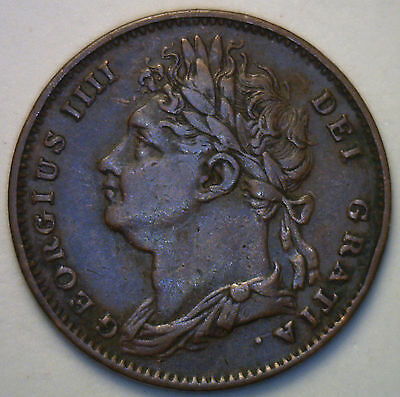 1822 Copper Farthing Great Britain UK Coin Extra Fine English