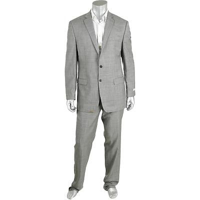 Calvin Klein 4113 Mens Gray Wool Slim Fit Two-Button Suit 42L BHFO