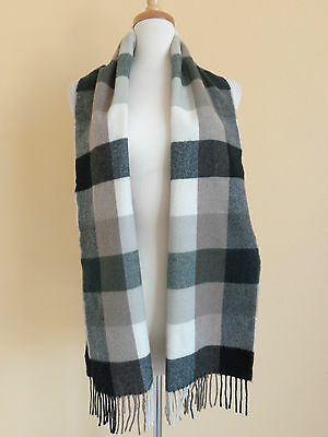 100% cashmere scarf black & gray checks with fringe made in Scotland
