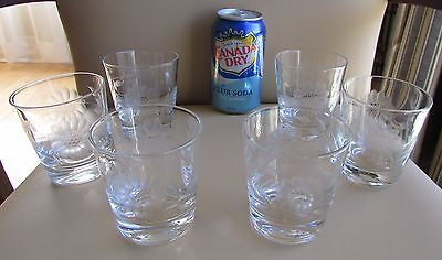 6 Hughes Cornflower Etched 6 oz Tumbler Old Fashioned On the Rocks Liquor Glass