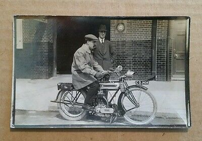 Triumph Motorcycle & Rider,Early RPPC,1910's