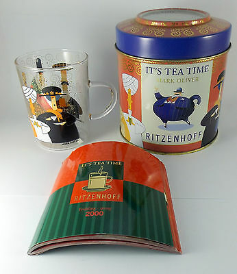 Ritzenhoff German Pop Art Glass -Tea Glass by Mark Oliver in Tin with Booklet.