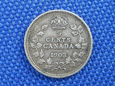 1903 Canada King Edward Vii Silver 5 Cent Coin 22 Leaves