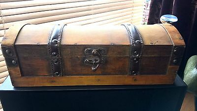Treasure Chest Style Wooden Jewellery/Storage Trunk Brass & Leather Fittings