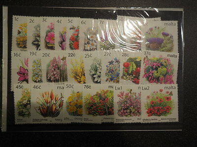 Stamps 24 Different Floral Stamps from Malta MNH