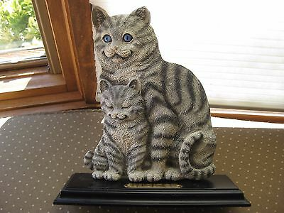 Silver Tabby and Kitten Collectible Figurine on Base with Plaque