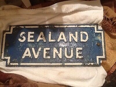 vintage antique late victorian cast iron street sign sealand avenue (formby)