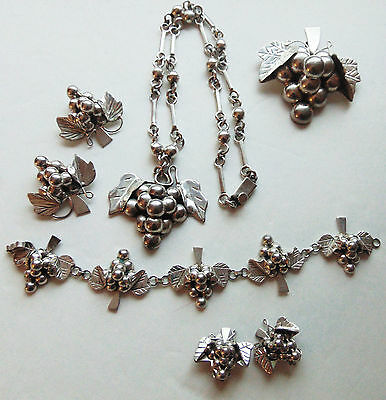 Vintage 925 Sterling Silver Mexico Taxco Grape Set 200.4 Grams Lot