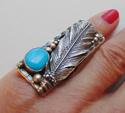Native American Peter Nelson Sterling & Turquoise Feather Ring